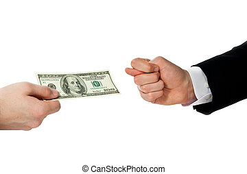 bribery - young businessman declines taking a bribe,...