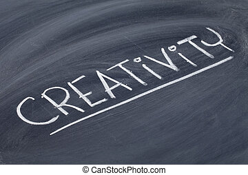 creativity word on blackboard