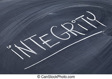 integrity word on blackboard - integrity word in white chalk...