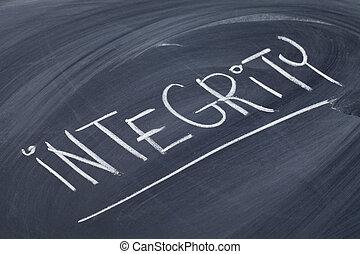 integrity word on blackboard - integrity word in white chalk...