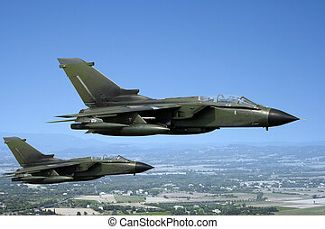 Fighter jets - Two green European fighter jets