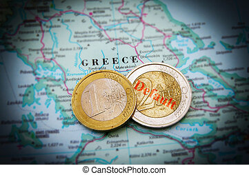 Euro coins on a map of Greece (Greek financial crisis)