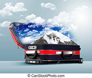 Red suitcase with snowy mountains inside - Red suitcase with...