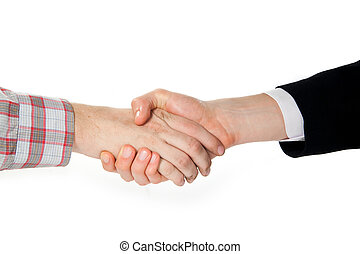 a handshake between a farmer and a businessman isolated on...