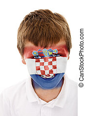 Young boy with croatia flag painted on his face