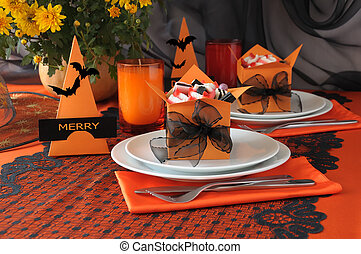 Tableware Halloween - Festive table decoration for Halloween...