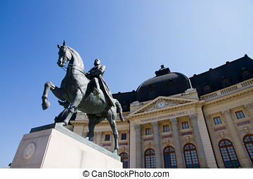 Bucharest view -Carol I statue and - The statue of Carol I,...