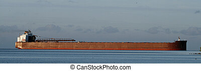 Great Lakes freighter - A freighter making an early morning...