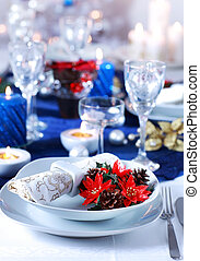 Christmas place setting - Place setting for Christmas in...
