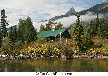 Mountain cabin - A mountain cabin by a lake