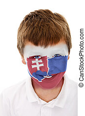 Young boy with slovakia flag painted on his face