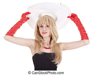 Fashion girl in retro style with big hat