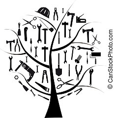Vector tree with different tools for repair