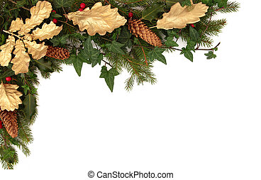 Winter Flora and Fauna Border - Christmas border of holly,...