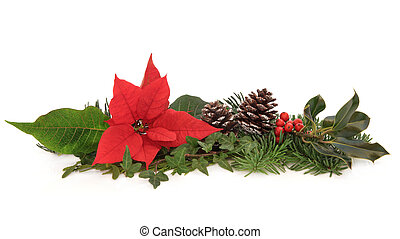 Poinsettia and Winter Fauna - Christmas decoration of...