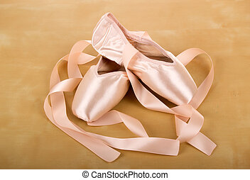 ballet shoes - new pair of ballet shoes with ribbons