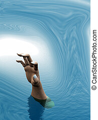 Drowning persons hand reaching out in a tidal wave