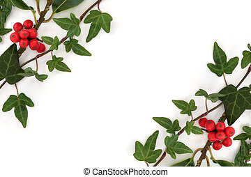 Holly and Ivy Abstract Border - Ivy leaf and holly leaf...