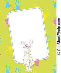 Baby rabbit handprints - Baby rabbit and his handprints....
