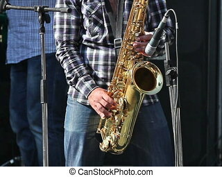 Man playing with saxophone on the concert