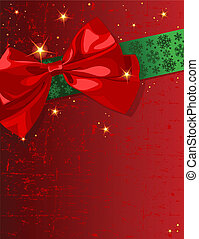Christmas bow - Christmas design with bow and shining stars