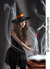 beautiful long haired girl dressed like a halloween -...