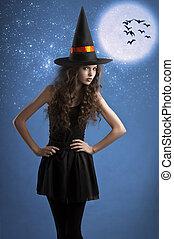 doux,  Halloween, poser, étoiles, sous, sorcière