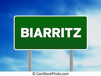 Green Road Sign -  Biarritz, France