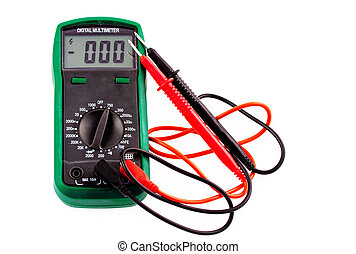 Digital multimeter with wires and plugs