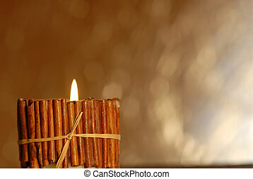 candle background with copy space - rustic candle burning on...