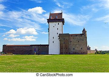 Estonia Narva Ancient fortress on border with Russia
