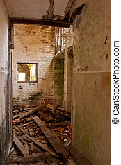 Forgotten Room - Abandoned church room with wreckage on the...