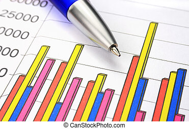 Colorful business chart and blue pen