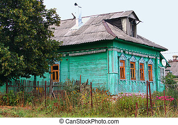 Russian hut - Traditional russian rural house at midday with...