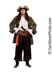 hombre, pirata, disfraz, pistola, aislado