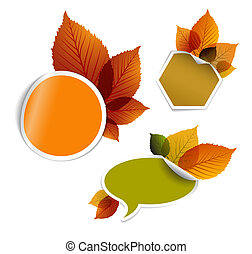 Set of vector autumn discount tickets, labels, stamps,...
