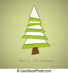 Simple vector christmas tree made from green and white paper...