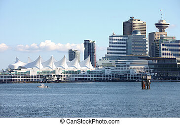 Canada Place & Vancouver BC skyline, Canada.