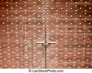 Old wooden gate door