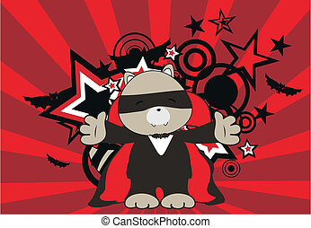 raccoon dracula cartoon background