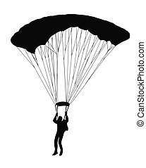 Sky Diver with parachute - Silhouette of sky diver with open...
