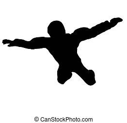 Sky Diver free falling - Silhouette of sky diver free...