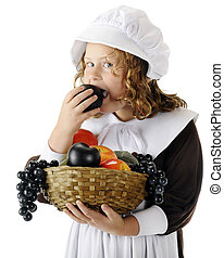 Plum Snitcher - A pretty young Pilgrim snitching a plum from...