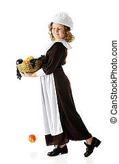 Young Pilgrim Carrying Fruit