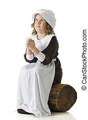 Pilgrim Girl's Prayer - A young elementary-aged Pilgrim girl...