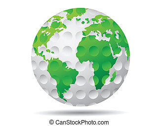 isolated golf earth on white background