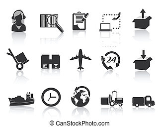 logistics and shipping icons - set of logistics and shipping...