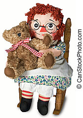 old rag doll with bear - Old rag doll hugging her teddy bear...