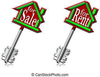 House keys for sale and for rent - Illustration with house...