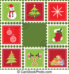 Set of Christmas stamp postage - Sets of colorful Christmas...
